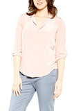 LAVENDER BROWN V-Neck Button Down Blouse in Dusty Rose