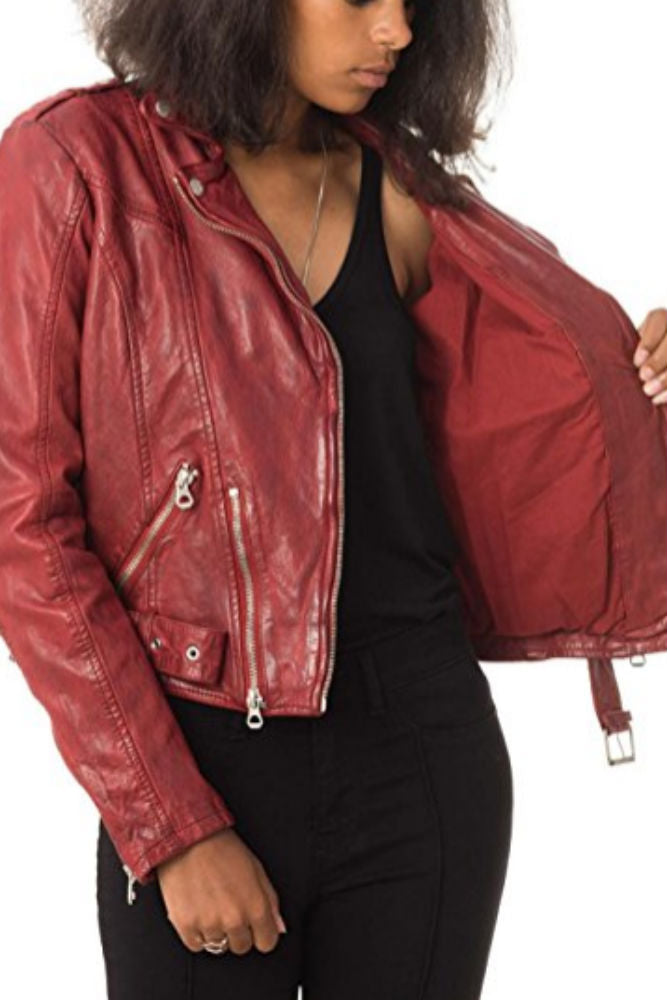 Mauritius Leather Wild Lawov Jacket in Ox Red