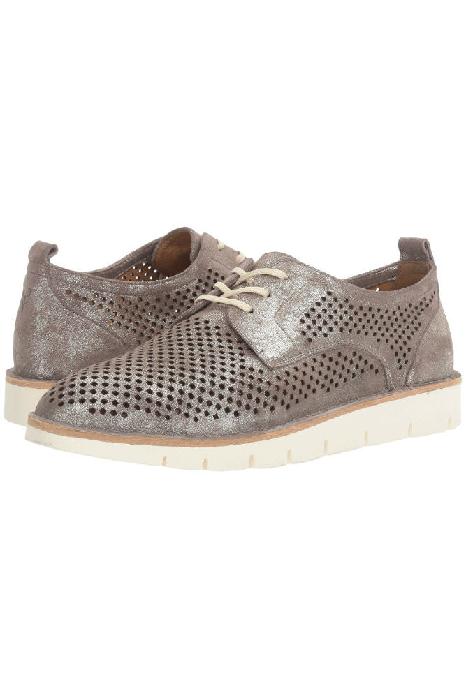 Trask Lena Oxford in Pewter Metallic Suede