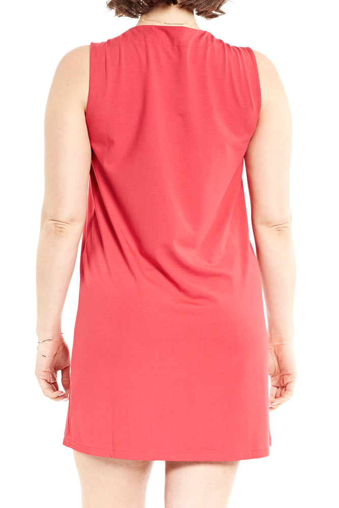 Lilla P. Pleat Front Dress in Raspberry