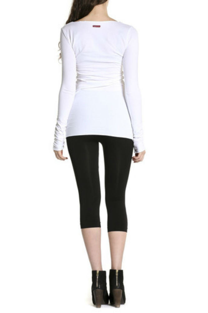 Hard Tail Long Skinny Tee in Classic White