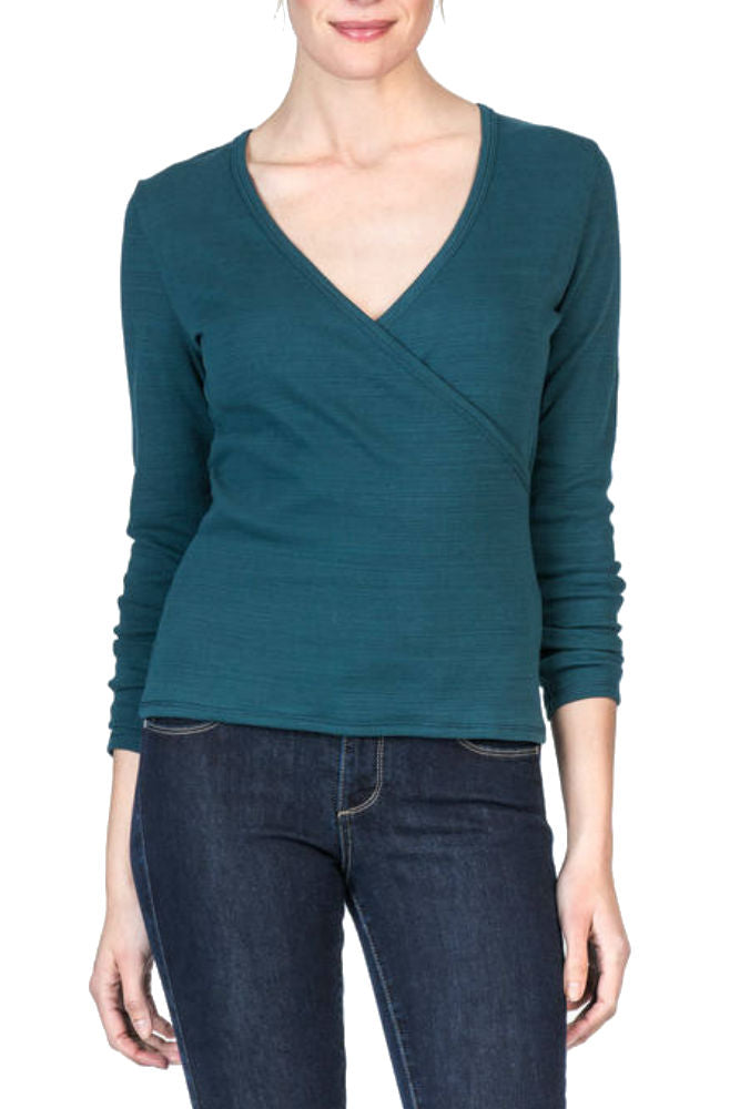 Lilla P Long Sleeve Faux Wrap Top