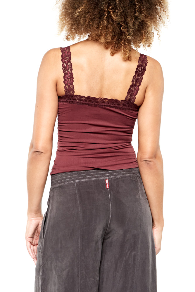 M. Rena Lace Corset Cami in Deep Wine