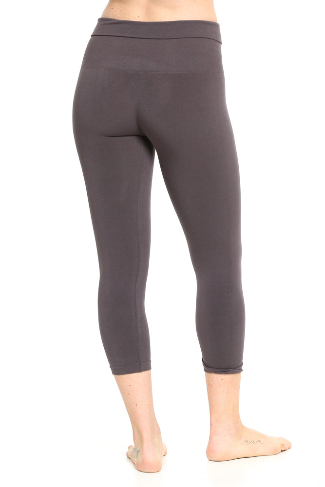M. Rena Tummy Tuck Capri Leggings in Dark Grey