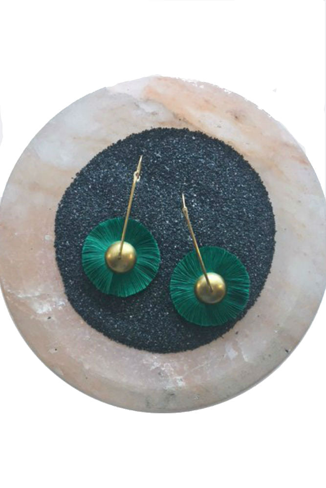 The Salt Empire Mawu Hoop Earring in Emerald