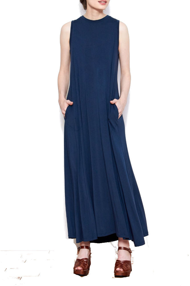 SARAH LILLER SF Josephine Maxi Dress in Navy