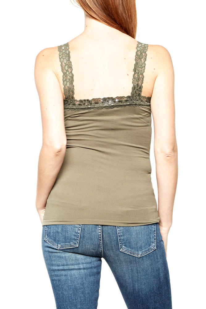 M. Rena Lace Corset Cami in Dusty Olive