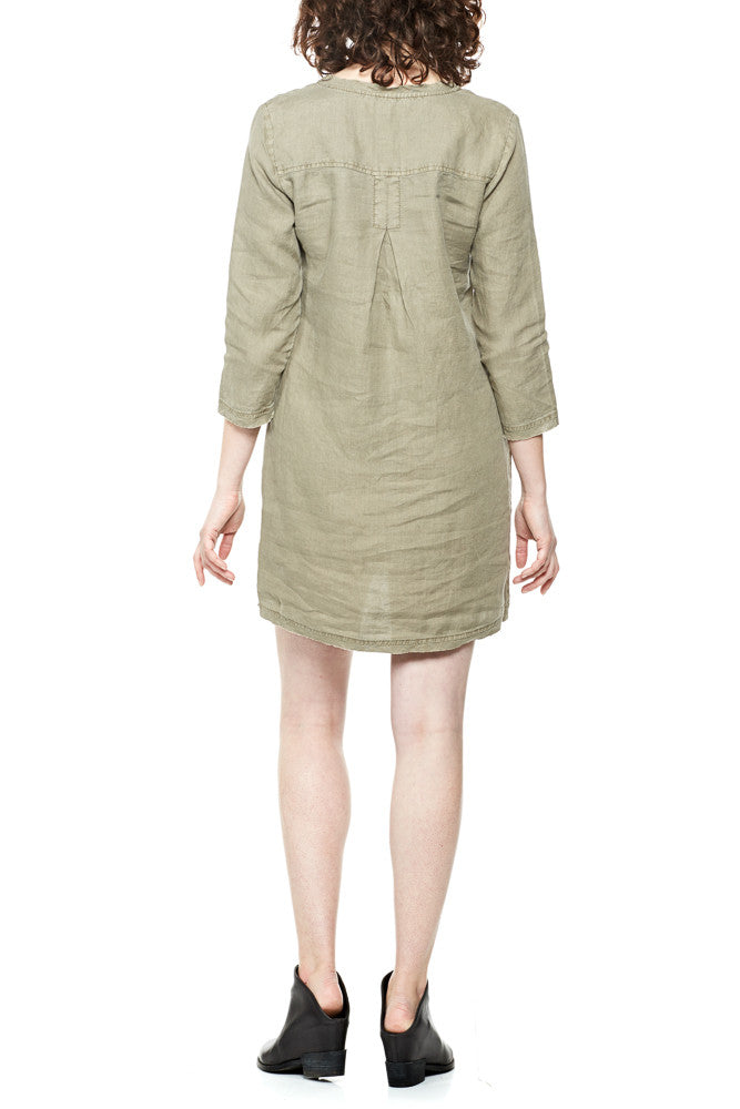 Michael Stars Woven Linen Dress w/Frayed Edges in Olive Moss