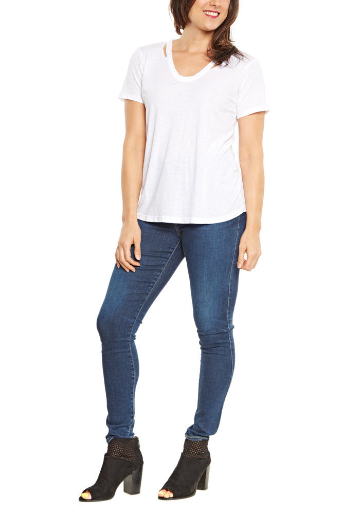 Michael Stars U-Neck Cut Out Tee in White