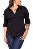 Michael Stars Fitted Button Shirt in Black