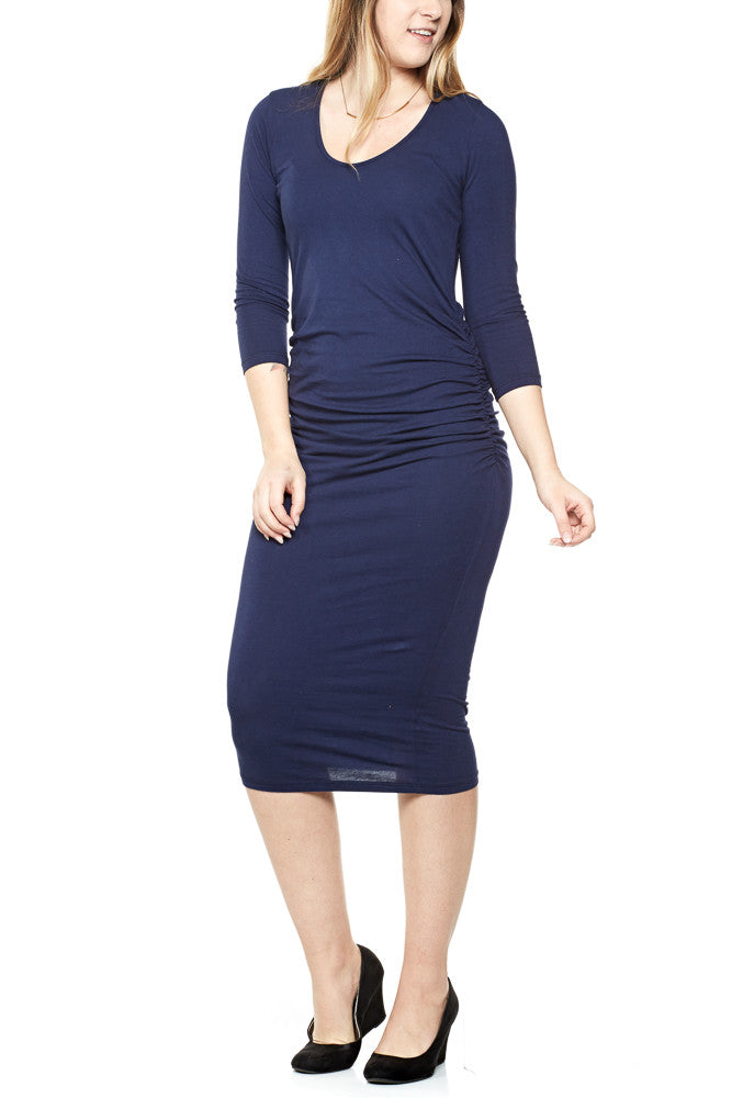 Michael Stars 3/4 Sleeve Ruched Midi Dress in Nocturnal