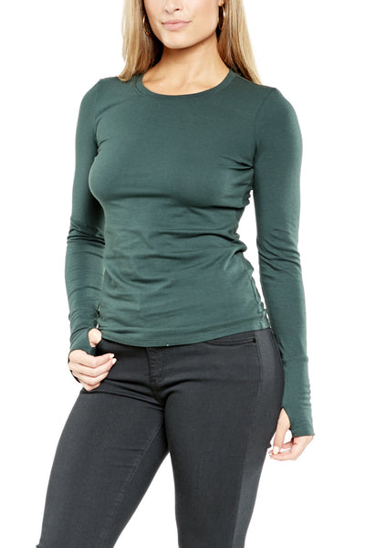 Michael Stars Crew Neck w/Thumbholes in Forest