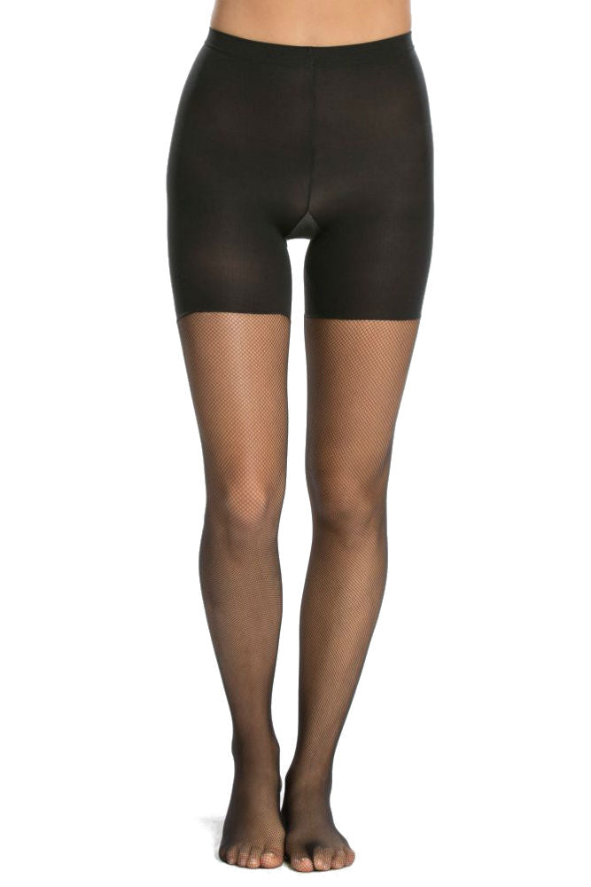 SPANX Micro-Fishnet Mid-Thigh Shaping Tights Black