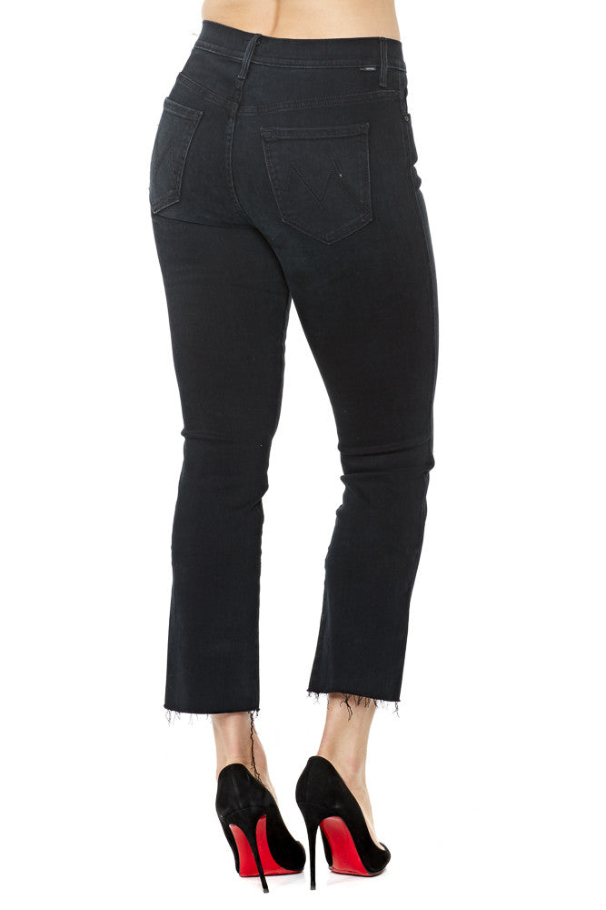 Mother High Waisted Rascal Ankle Fray in Blackbird