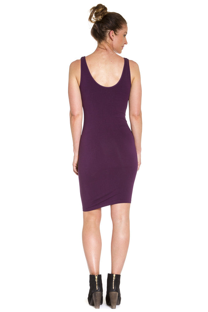 M. Rena Sleeveless Rayon Dress in Eggplant