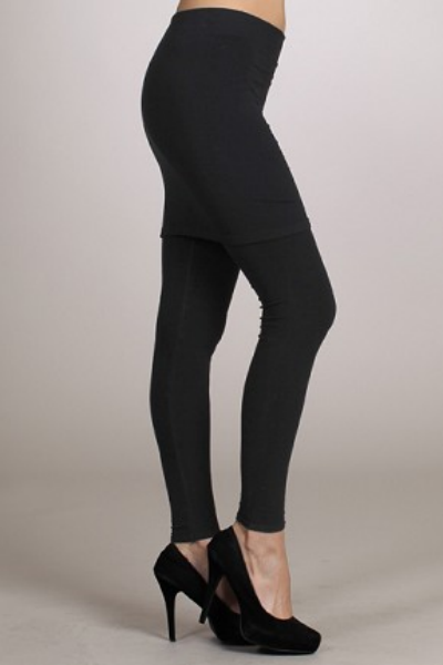 M. Rena Long Leggings w/Skirt in Black
