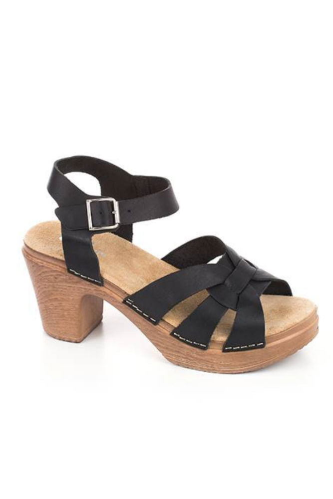 Calou Olivia High Heel Clog Sandals in Black