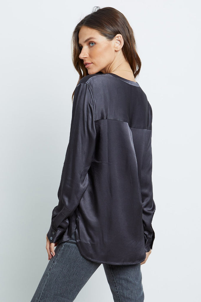 Rails Pearl Half Placket Top