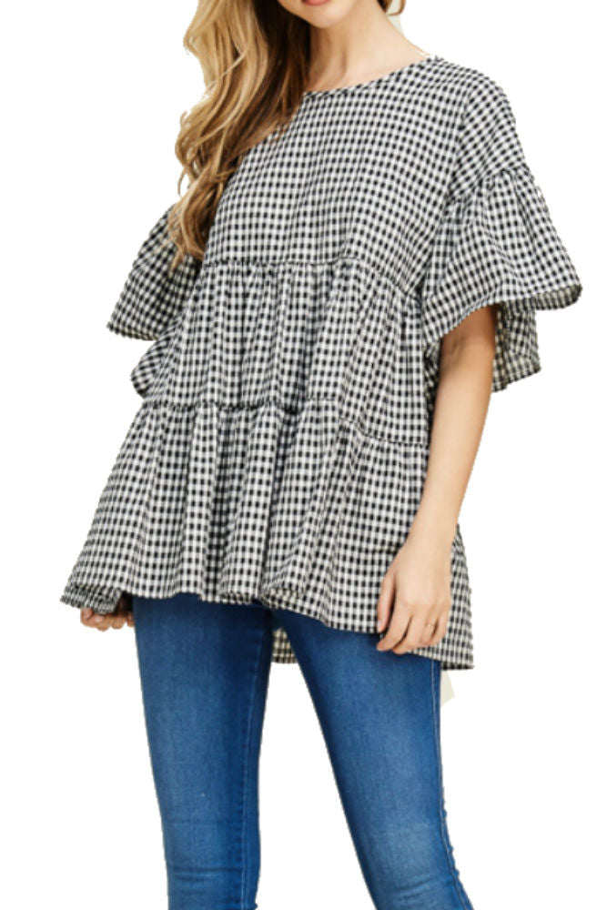 Hailey & Co Poplin Gingham Ruffle Top