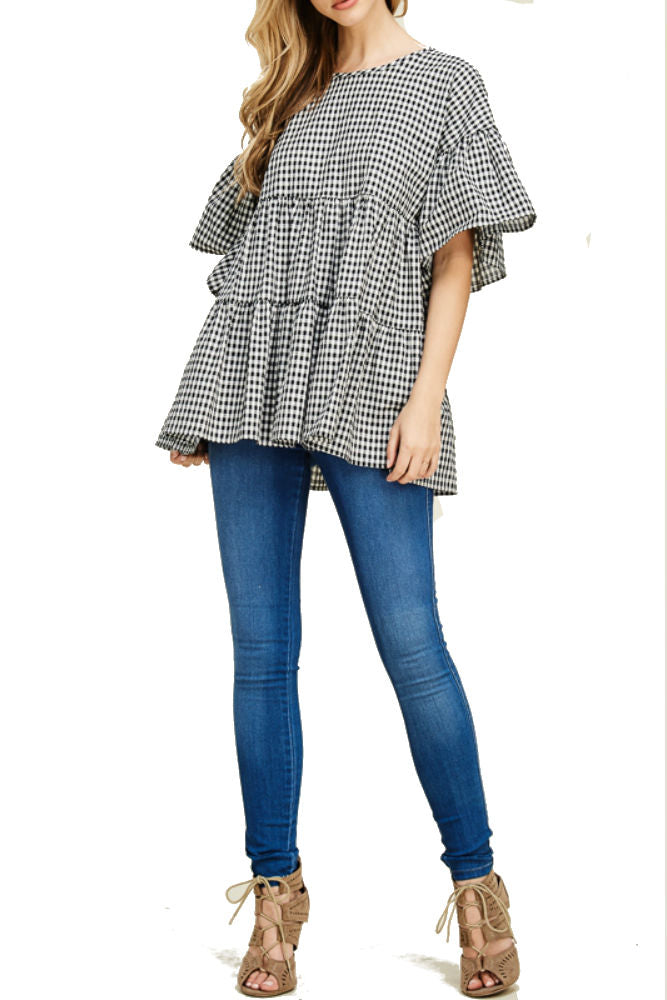 Hailey & Co Poplin Gingham Ruffle Top - FINAL SALE