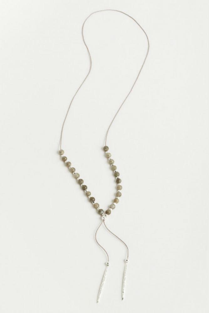Gorjana Power Gemstone Beaded Necklace in Labradorite/Silver