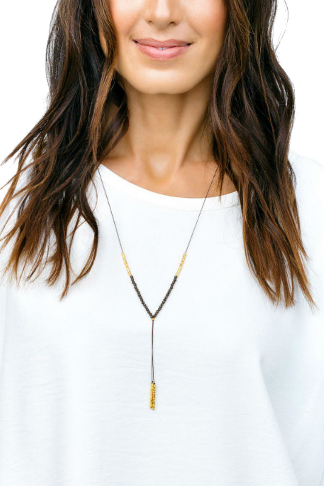 Gorjana Power Gemstone Necklace in Grounding Smoky Quartz/Gold