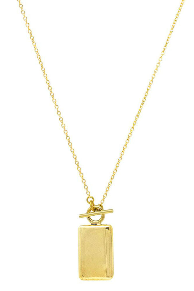 Soko Rectangle Medallion Necklace Brass