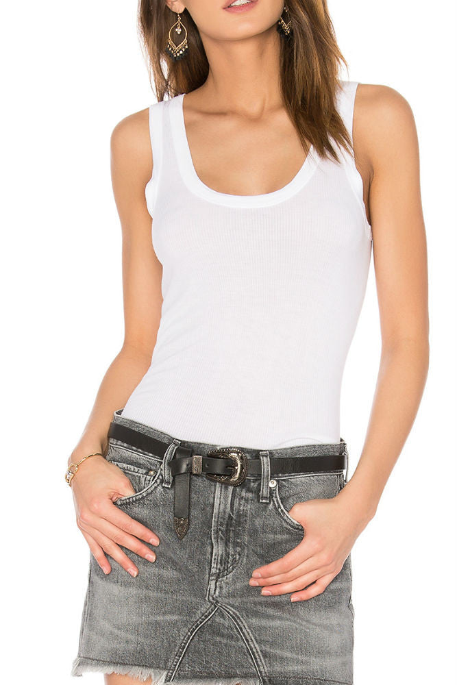 Enza Costa Rib Fitted Bold Tank in White