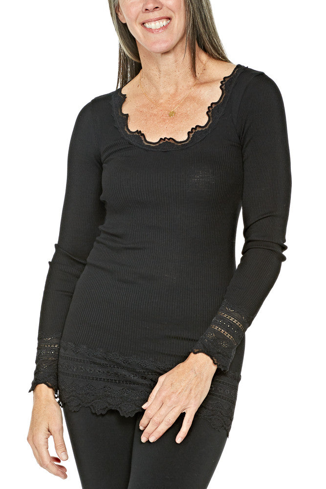 Rosemunde Silk T-Shirt Medium w/Wide Lace in Black