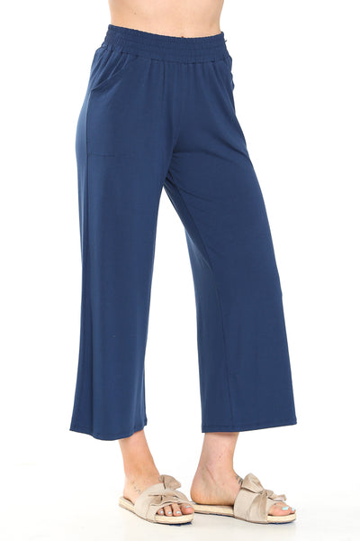 SARAH LILLER SF Aida Cropped Easy Pants in Marine Navy