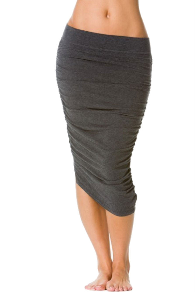 Hard Tail Shirred Poet Skirt in Dark Charcoal