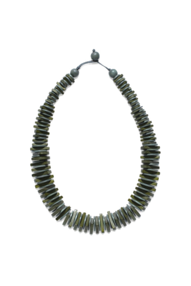 Elk Cog Short Necklace Moss Green/ Lead