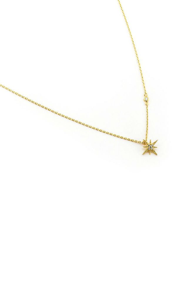 Tai Gold Simple Chain w/ CZ Starburst