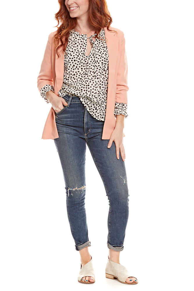 Soaked in Shirley Blazer in Flamingo Coral - FINAL SALE