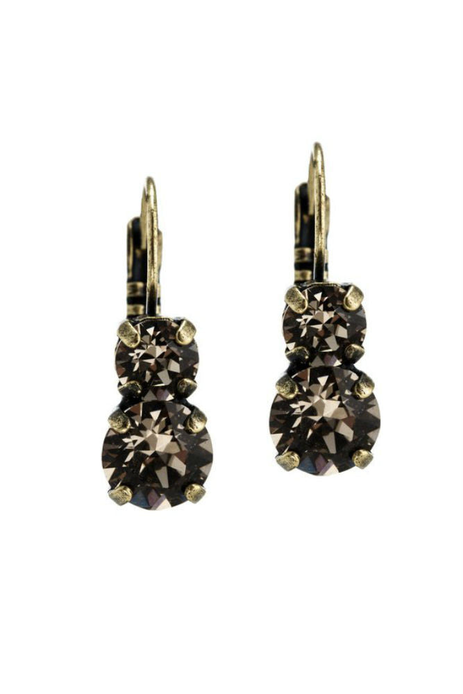 Grayling Sophia Swarovski Leverback Earrings in Brass