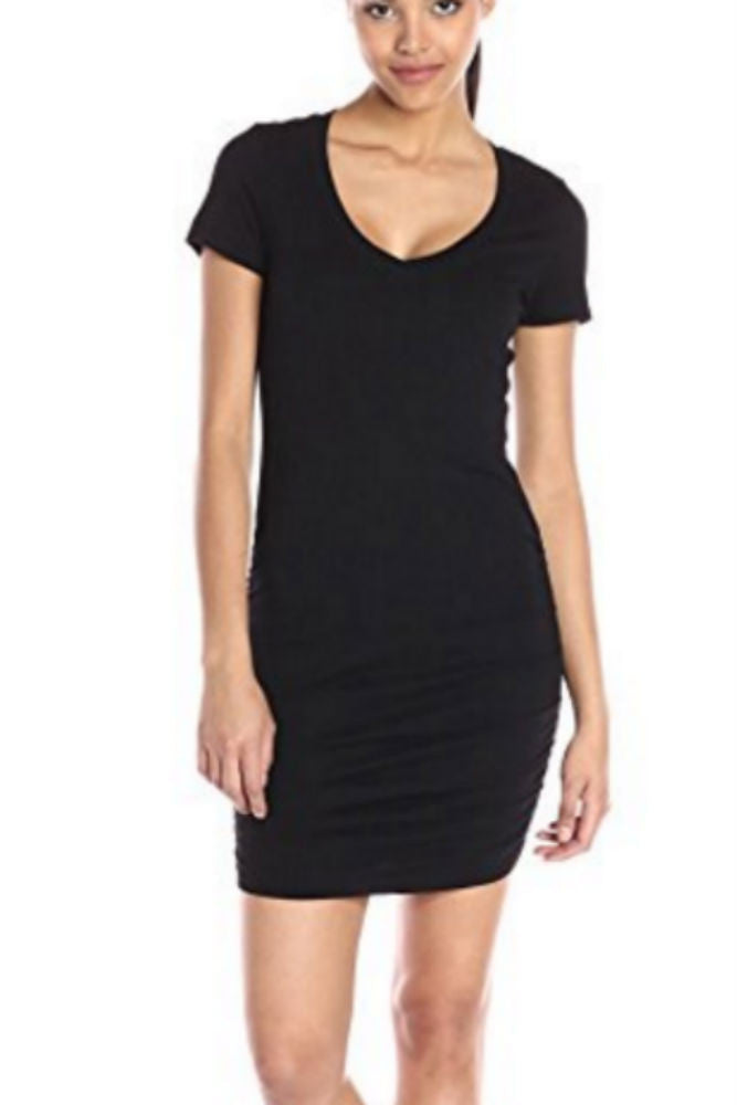 Michael Stars S/S V-Neck Ruched Side Mini Dress in Black