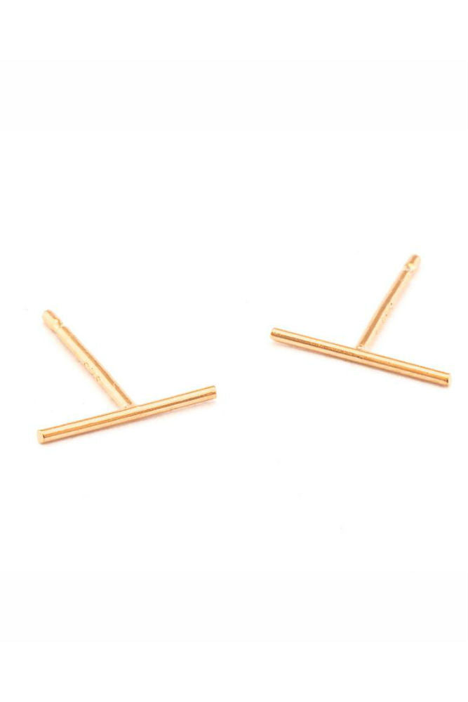 TAI Stick Stud Post Earring in Rose Gold