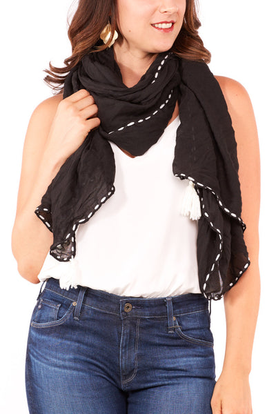 Subtle Luxury Stitch & Pom Scarf in Black