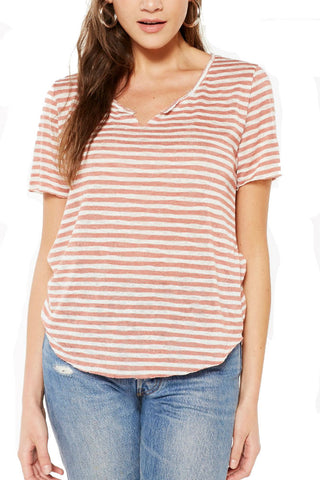 PROJECT SOCIAL T Suzie Shirttail Tee in Navy/Oatmeal