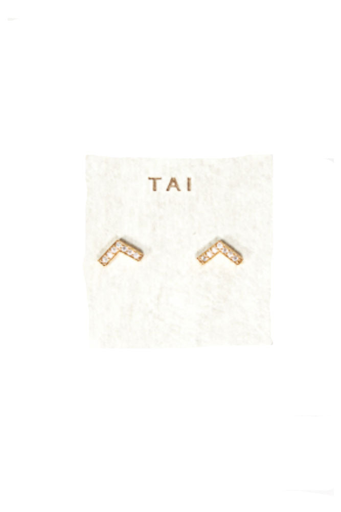 Tai 12k Gold/CZ V Post Earring