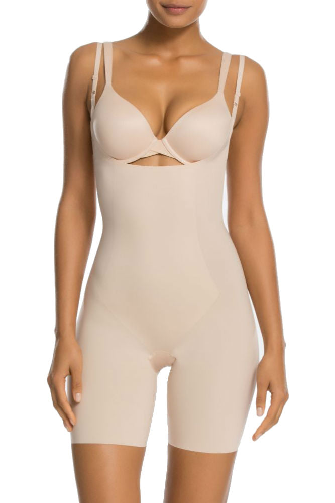 SPANX Thinstincts Open Bust Mid-Thigh Bodysuit Nude