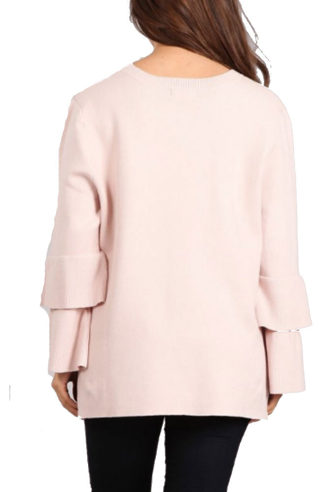BLVD Tiered Bell Sleeve Sweater in Mauve
