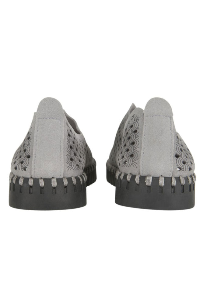 Ilse Jacobsen Tulip Perf Slip-On w/Black Sole in Grey