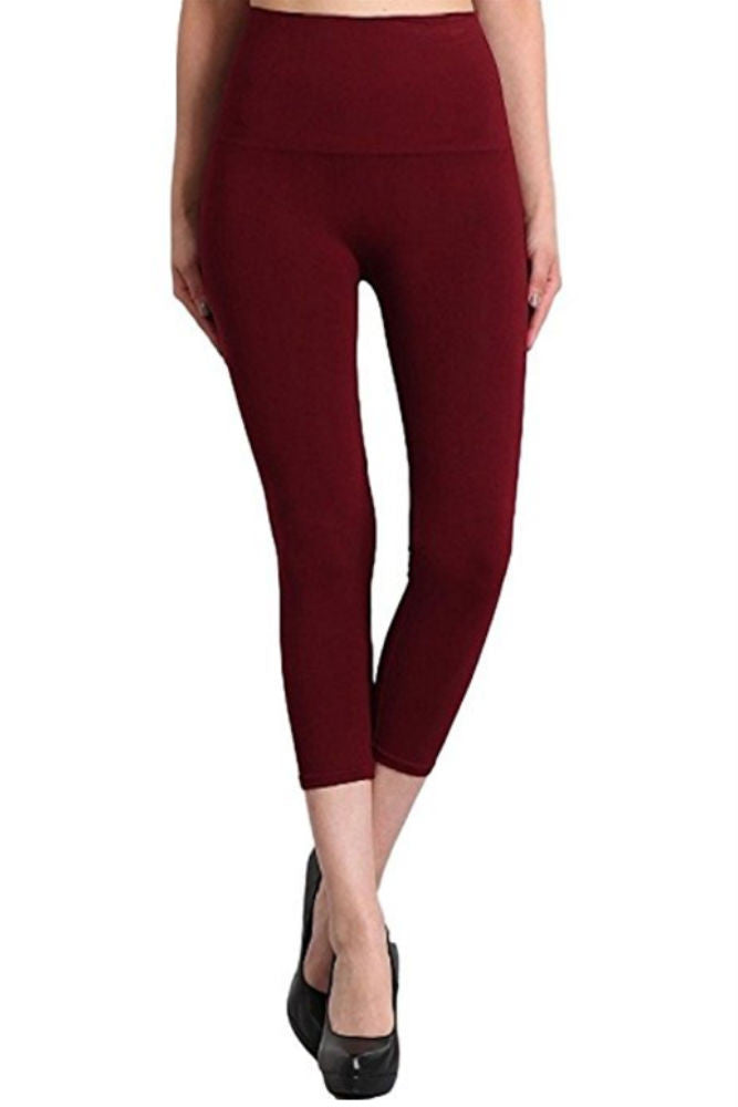 M. Rena Tummy Tuck Capri Leggings in Burgundy