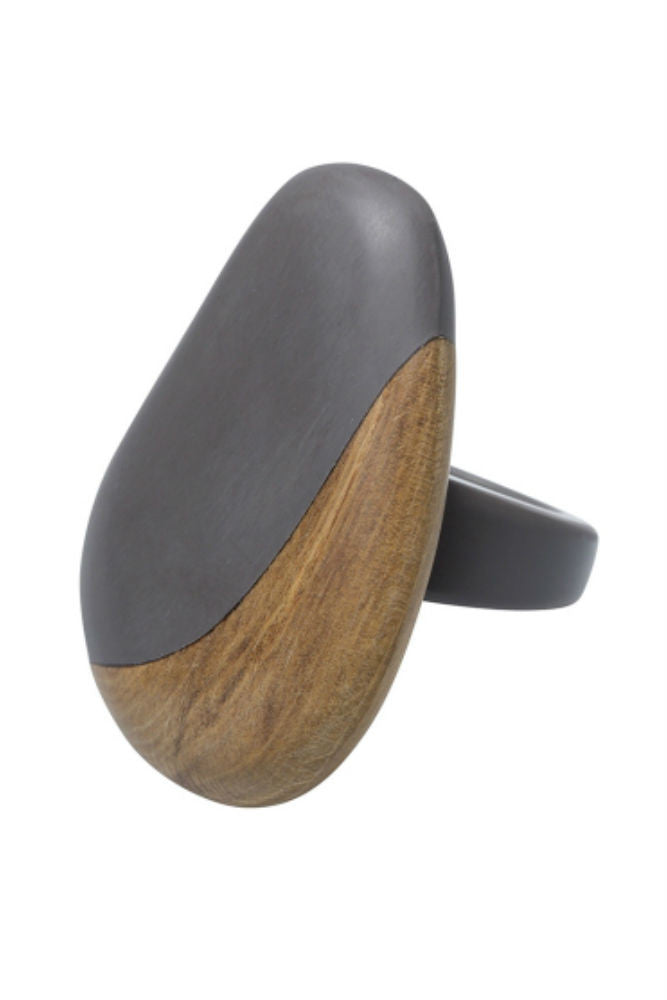 Elk Two Tone Ring Flint Wood