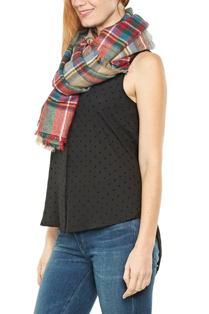 Urbanista Frayed Square Plaid Scarf in Beige