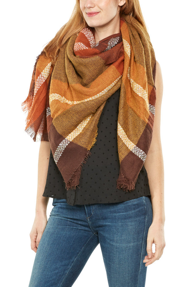 Urbanista Frayed Square Plaid Scarf in Rust