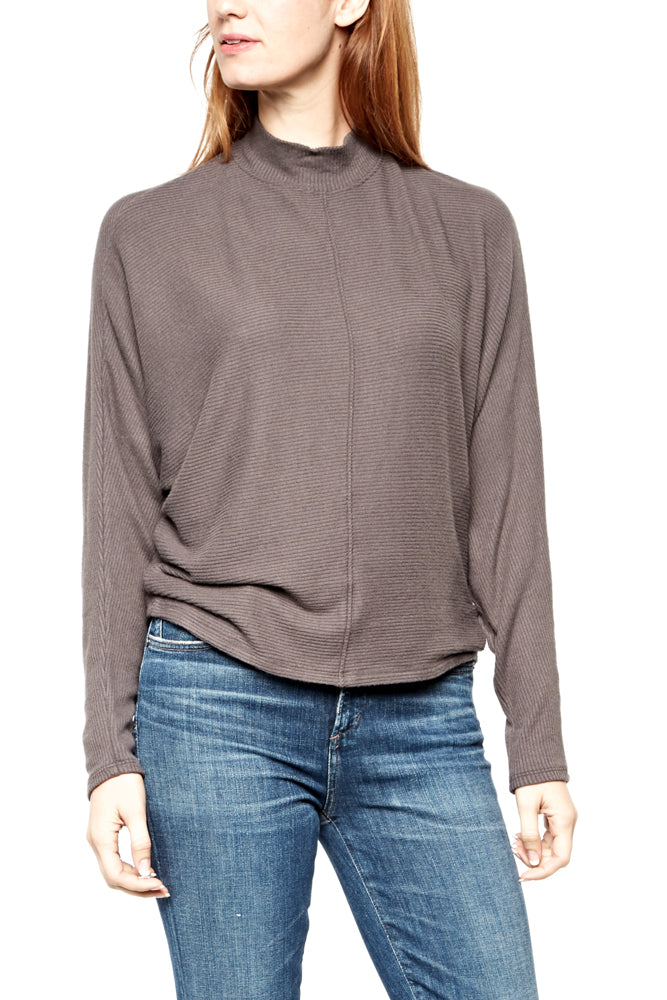 Velvet by Graham & Spencer Devyn Mock Neck Top in Mink