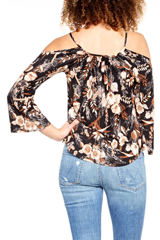 Veronica M. Cold Shoulder Bell Sleeve Top
