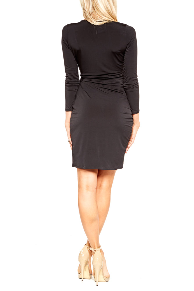 Veronica M. Tulip Wrap Dress in Black Ity